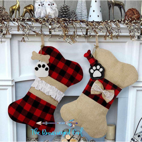 Doggie Christmas Stocking Buffalo Plaid