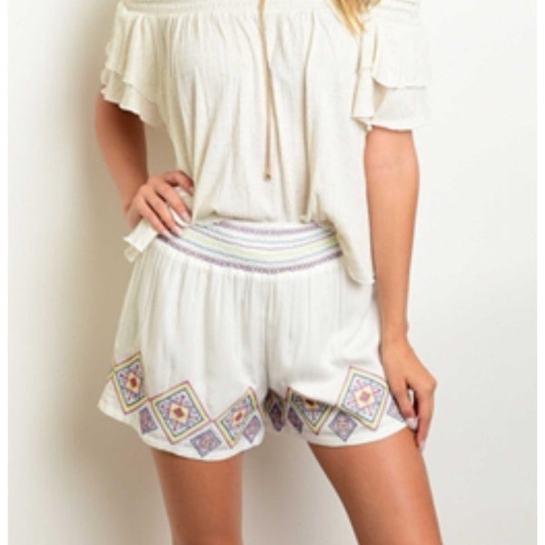 Ivory Embroidered Aztec Shorts Elastic Waist Pull On Summer Shorts