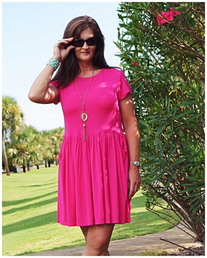 Swinging In Pink Dress - TheBrownEyedGirl Boutique