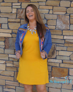 Mustard T-Shirt Dress Front Pockets Soft Stretchy Casual