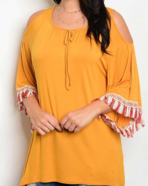 Mustard Cold Shoulder Tassel Trim Tunic Plus