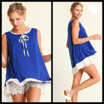 Umgee Sleeveless Swing Royal Blue Tank Top - TheBrownEyedGirl Boutique