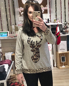 Shimmering Leopard Sequin Reindeer Sweater Relaxed Fit Soft Brushed Net Fabric