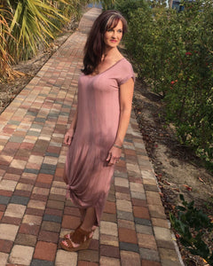 Dusty Rose Mineral Washed Side Knot Dress - TheBrownEyedGirl Boutique