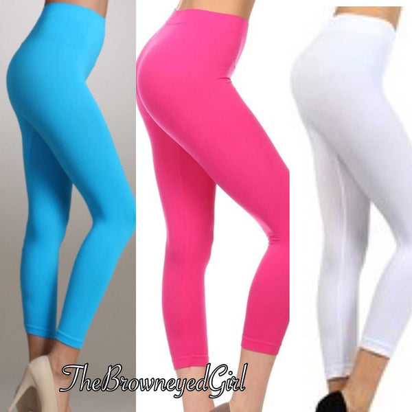 Solid Soft Slick Capri Leggings - TheBrownEyedGirl Boutique
