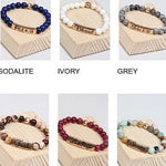 Natural Stone Religious Inspiration Stretch Bracelets - TheBrownEyedGirl Boutique