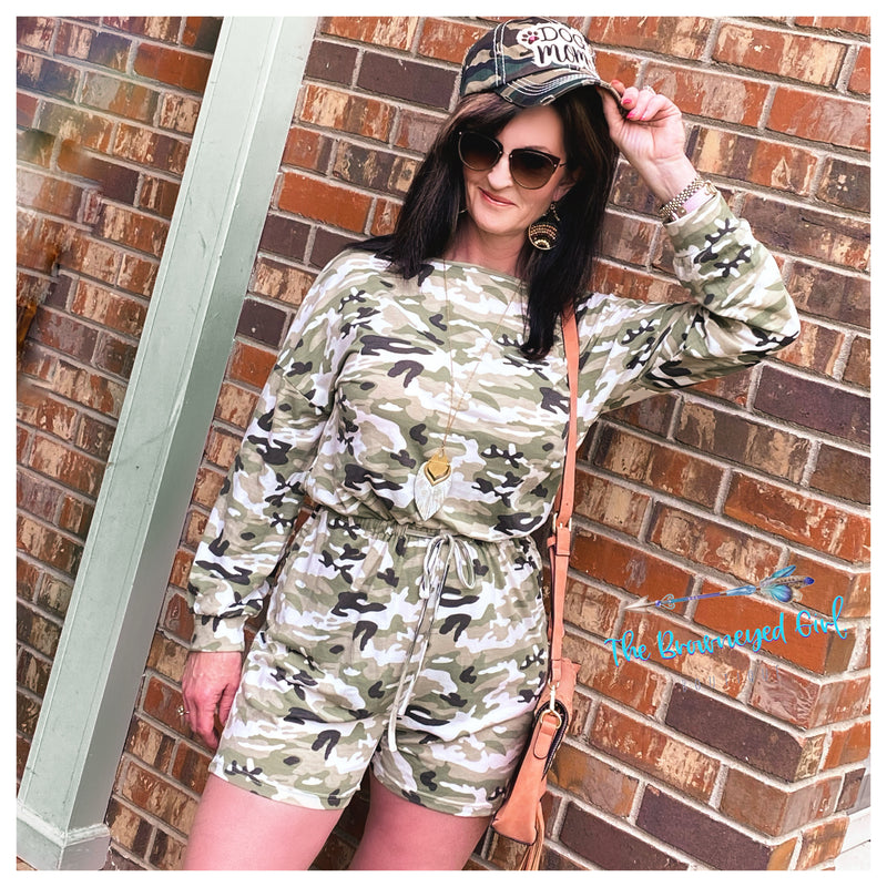 On A Safari Camo Long Sleeve Romper Olive/Pink Women
