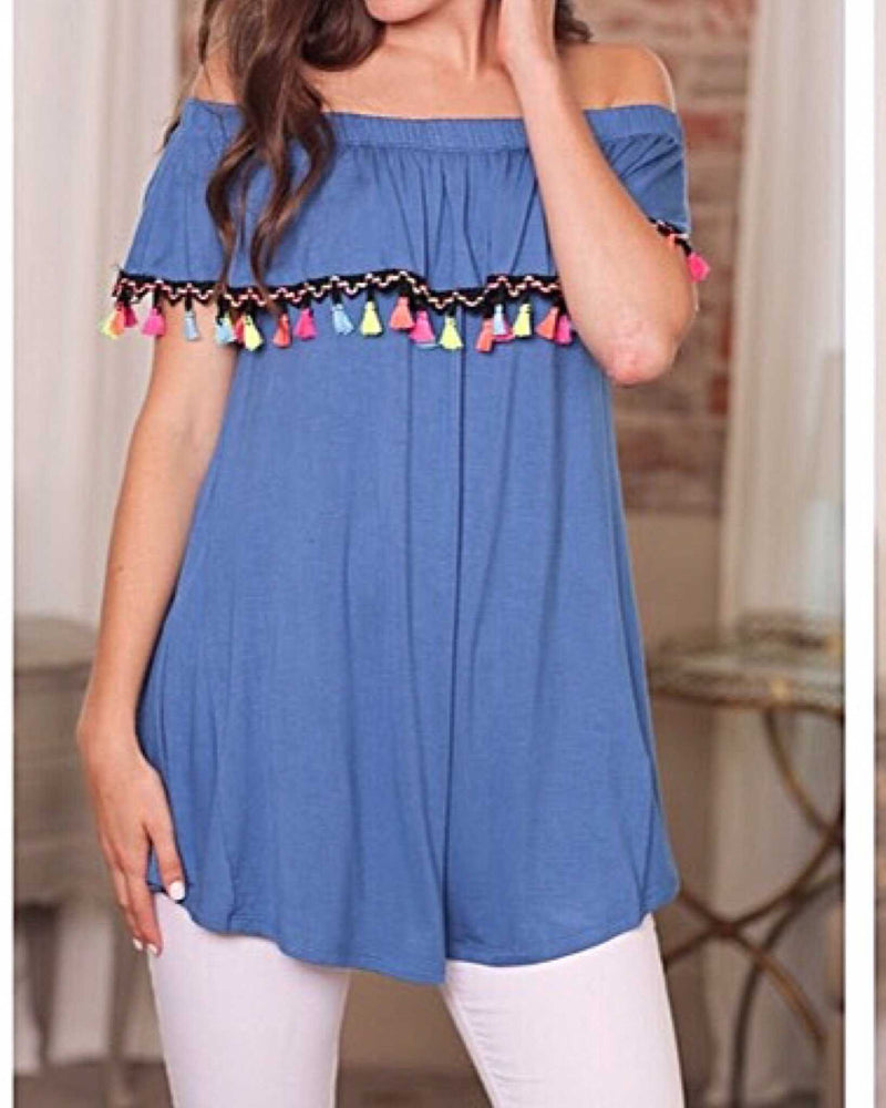 Royal Blue Pom Pom Fiesta Off The Shoulder Tunic - TheBrownEyedGirl Boutique