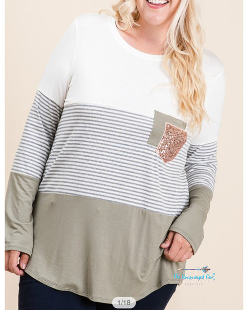 Olive Stripe Sequin Pocket Top