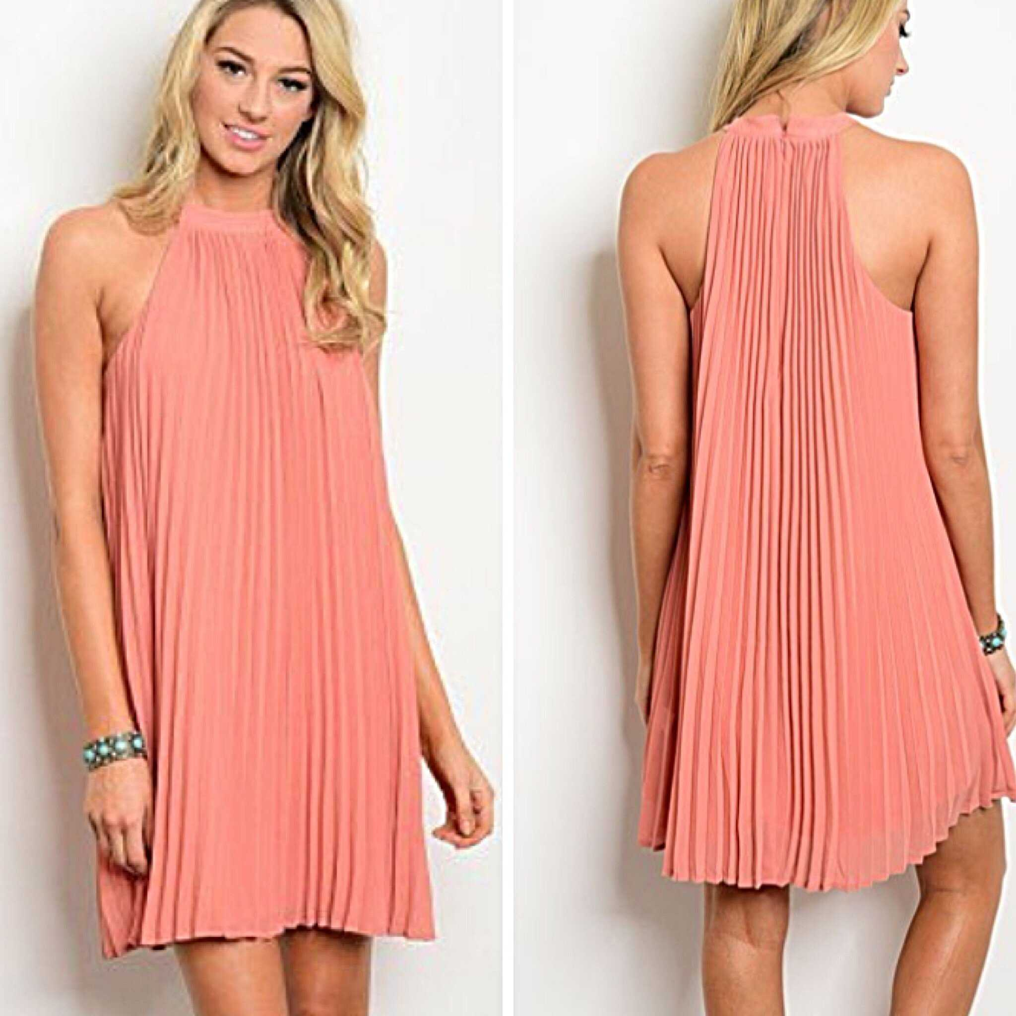 Entro Deep Peach  Dressy/ Casual Pleated Halter Above the Knee Dress