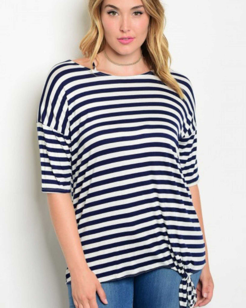 Navy And Ivory Striped Side Knot Plus Size Tee - TheBrownEyedGirl Boutique