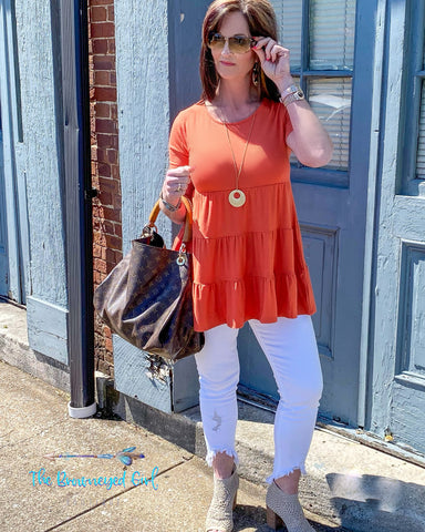 Sweet Spring  Deep Coral Baby Doll Top