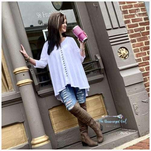 Be Free White /Black Hi-Lo Tunic