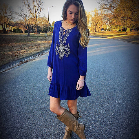 Royal Blue Embroidered Long Sleeve Baby Doll Dress