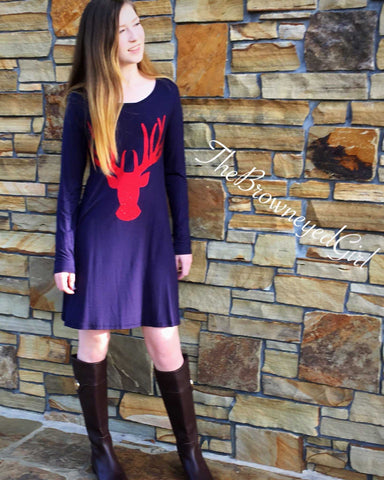 Navy Merry Christmas Deer Tunic/Dress
