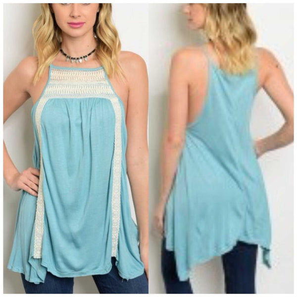 Sea Blue and Lace Tunic - TheBrownEyedGirl Boutique
