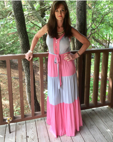 Color Block Pink & Grey Maxi dress