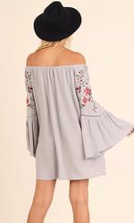 Embroidered Floral Grey Off The Shoulder Tunic/Dress - TheBrownEyedGirl Boutique