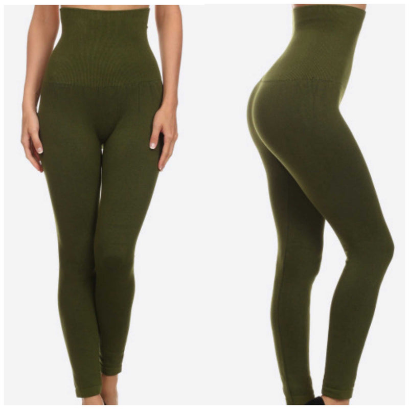 Yelete Live In High Waisted High Compression Tummy Control Leggings Plus - TheBrownEyedGirl Boutique