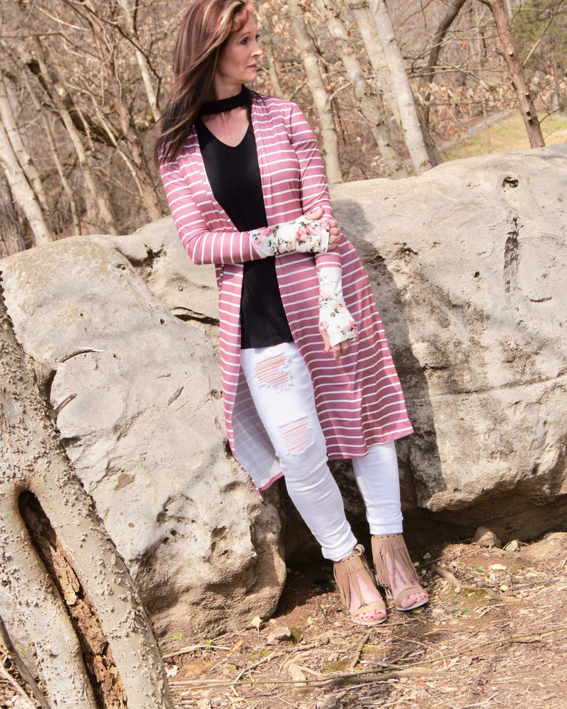 Navy floral cuff with thumbhole Long Sleeves Striped Cardigan
