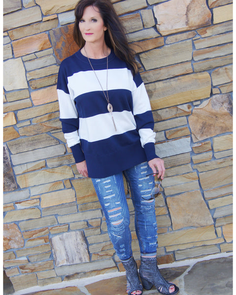 On The Go Color Blue And White Stripe Sweater - TheBrownEyedGirl Boutique