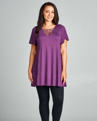Enough For Me Purple Top Plus - TheBrownEyedGirl Boutique