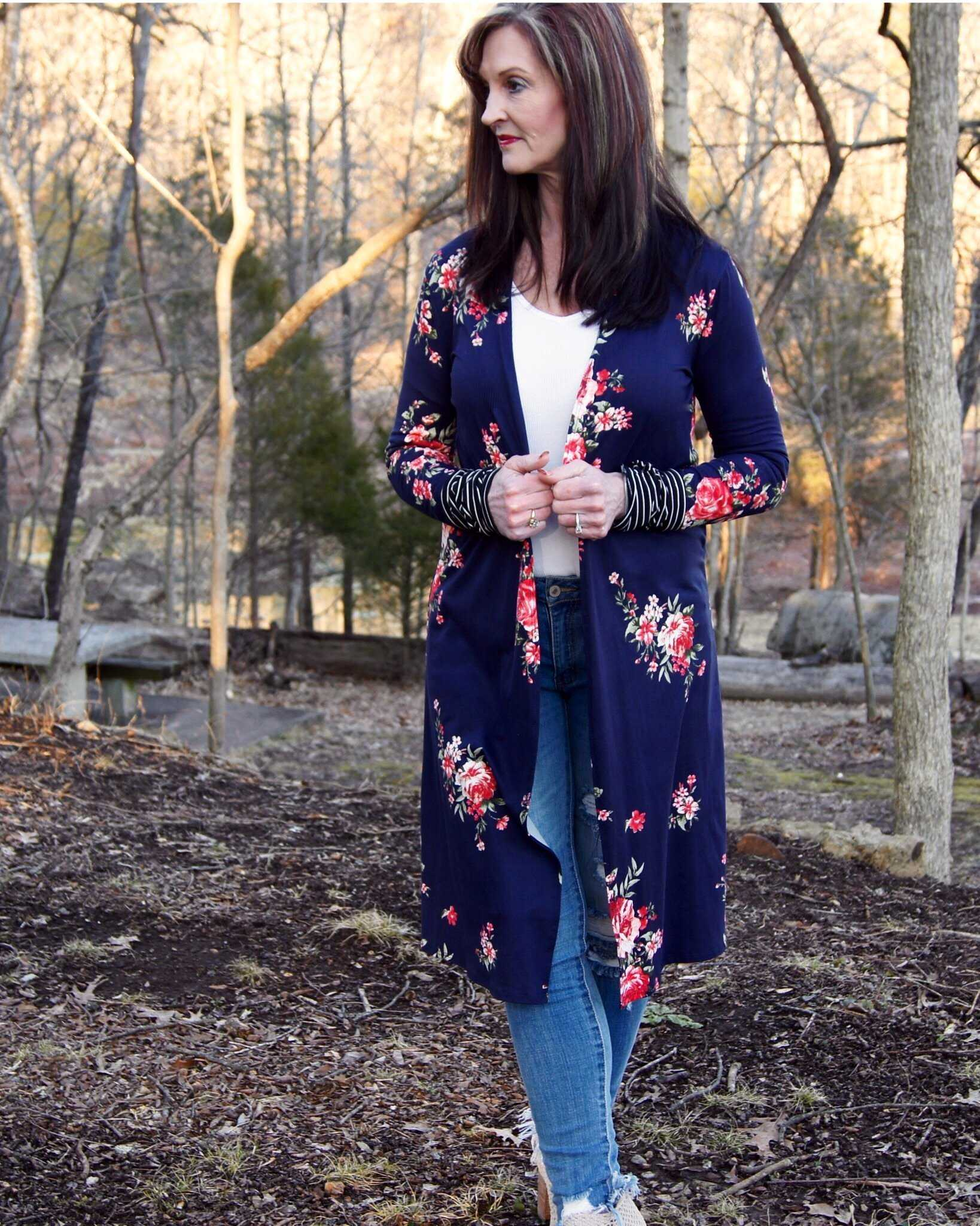Navy Floral Cardigan With Stripe Thumb Hole Contrasting Cuffs