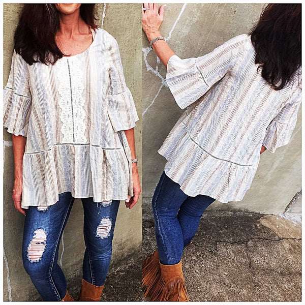 Crinkle Denim & Lace Striped Baby Doll Peasant Top - TheBrownEyedGirl Boutique