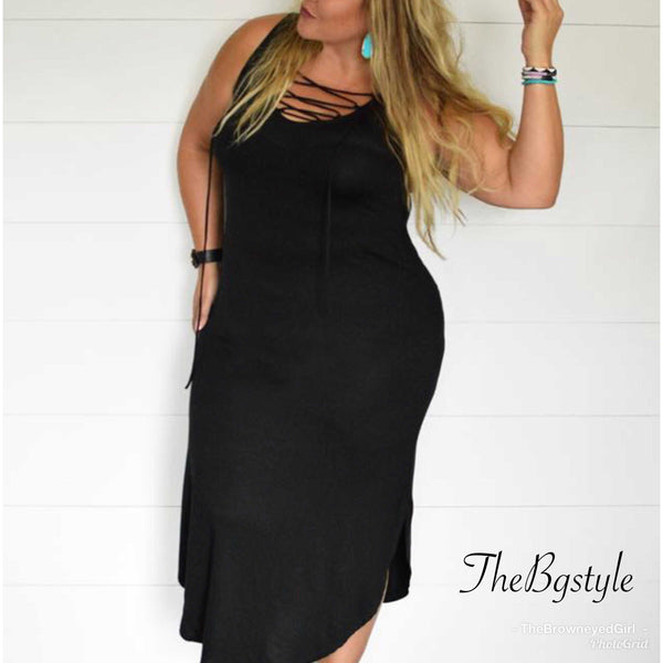 Plus Size Black Maxi That Drapes Just Right. Easy to Dress Up Or Down