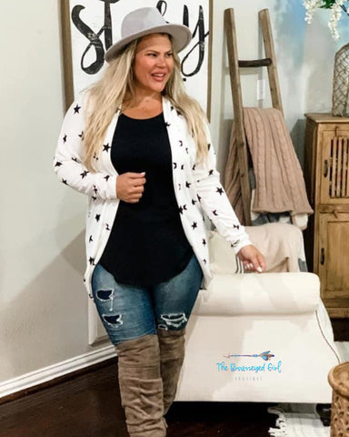 Woman wearing white ultra soft french terry cloth cardigan with charcoal stars . The Perfect Length
