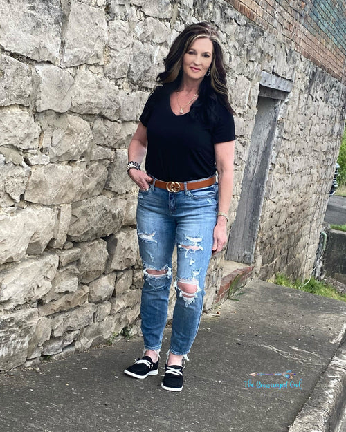 Sarah Judy Blue Distressed Boyfriend Jeans