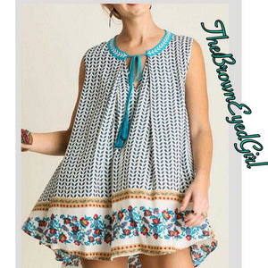 Lexi mixed print Flare Bottom Swing Tunic - TheBrownEyedGirl Boutique