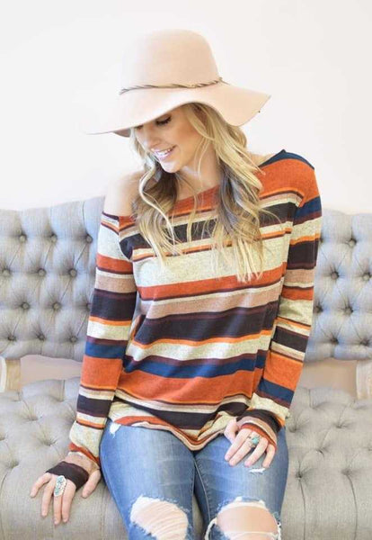 Willow Retro Stripe One Shoulder Sweater Top