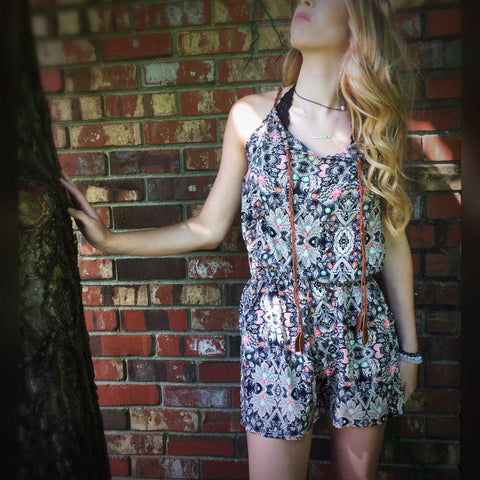 Multi color Mosaic Print Sleeveless Romper