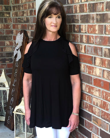 Black Flutter Ruffle Cold Shoulder Top
