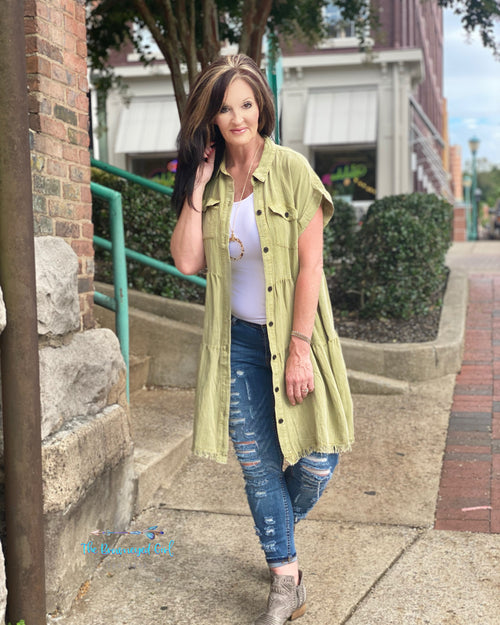 Umgee Woman Wearing Olive Button Down Dress As A Duster