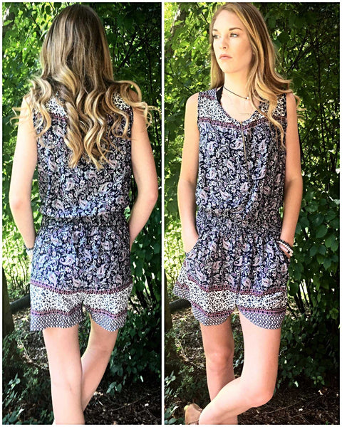 Navy and Plum geometric print sleeveless one piece  romper shorts