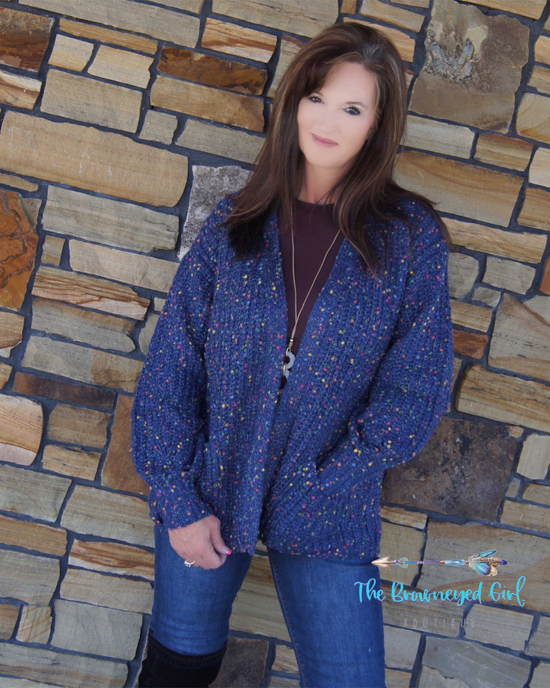 Life Is A Party Confetti Cardigan Blue/Rust - TheBrownEyedGirl Boutique