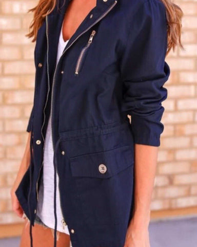 Most sought after jacket this season Navy utility jacket three pockets and zipper details draw string at waist