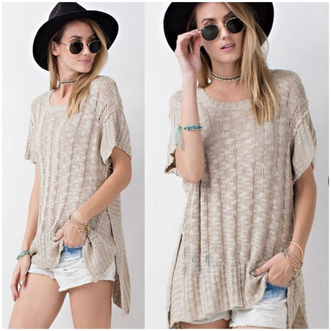 Soft Cozy Fall Essential Textured Chunky Short Sleeve Sweater