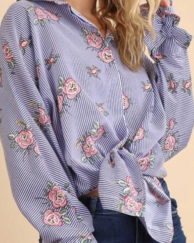 Blue And White Classic Striped Floral Button Down Top. Long Sleeve A Must Have For Every Closet