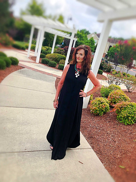 Bailey Basic Black Lace Up Maxi