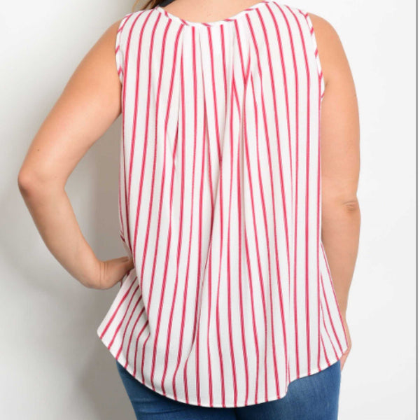 Red And Ivory Striped Sleeveless Blouse - TheBrownEyedGirl Boutique
