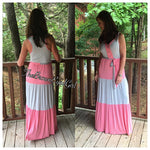 Color Block Pink & Grey Maxi dress - TheBrownEyedGirl Boutique