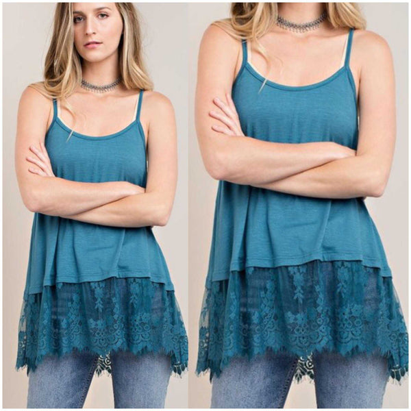 Teal Scalloped Lace Extender may also be worn as a tank top with jeans shorts or leggings