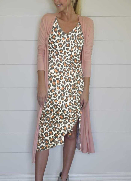 Leopard Print Double V Neck Side Knot Tank Dress - TheBrownEyedGirl Boutique