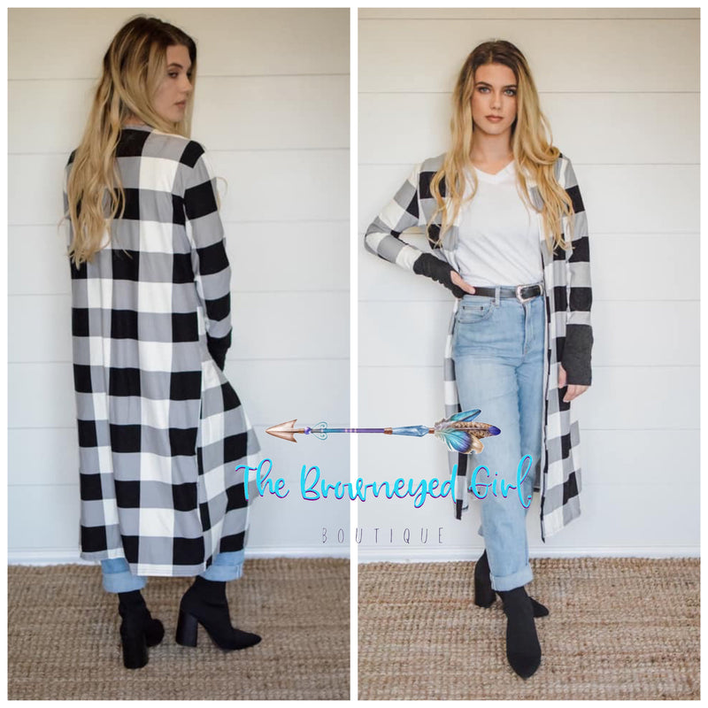Buffalo Plaid Black And White Valentine  Long Cardigan With Solid Black Contrasting Thumb Hole Cuffs- TheBrownEyedGirl Boutique