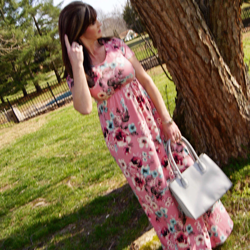 Timeless Love Pink Floral Side Pocket Maxi - TheBrownEyedGirl Boutique