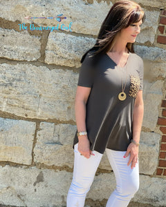 Tickle Me Wild Leopard Pocket Tee Plus