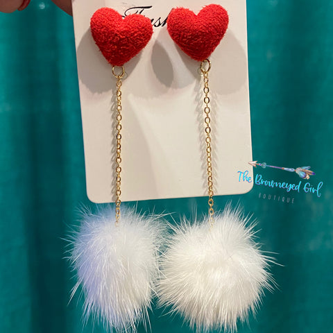 Sweet Heart Pom Pom Earrings - TheBrownEyedGirl Boutique